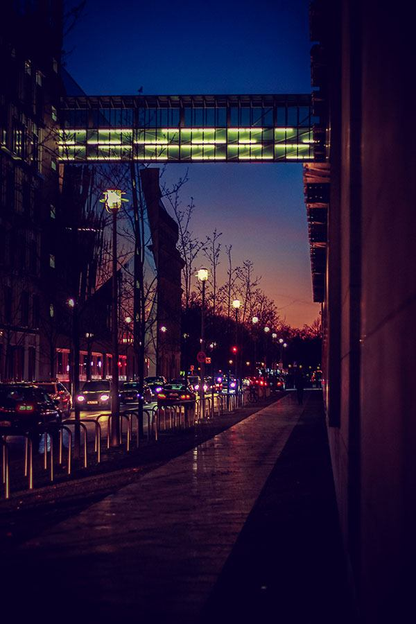 directors hub street at night